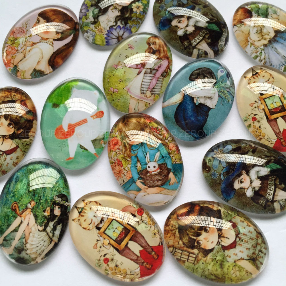 ZEROUP 30x40mm Handmade Photo Glass Cabochons Mixed Pattern Domed Oval Jewelry Accessories Supplies For Jewelry 10pcs/lot TP-311