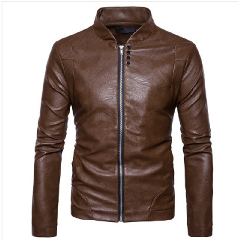 New Men Fashion Cool Motorcycle Jacket Coat Slim Fit Zipper PU Leather Jacket 2colour