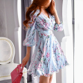 dabuwawa spring dress 2016 new arrivals women's three quarter sleeved fashion casual sexy cute chiffon women dresses pink doll