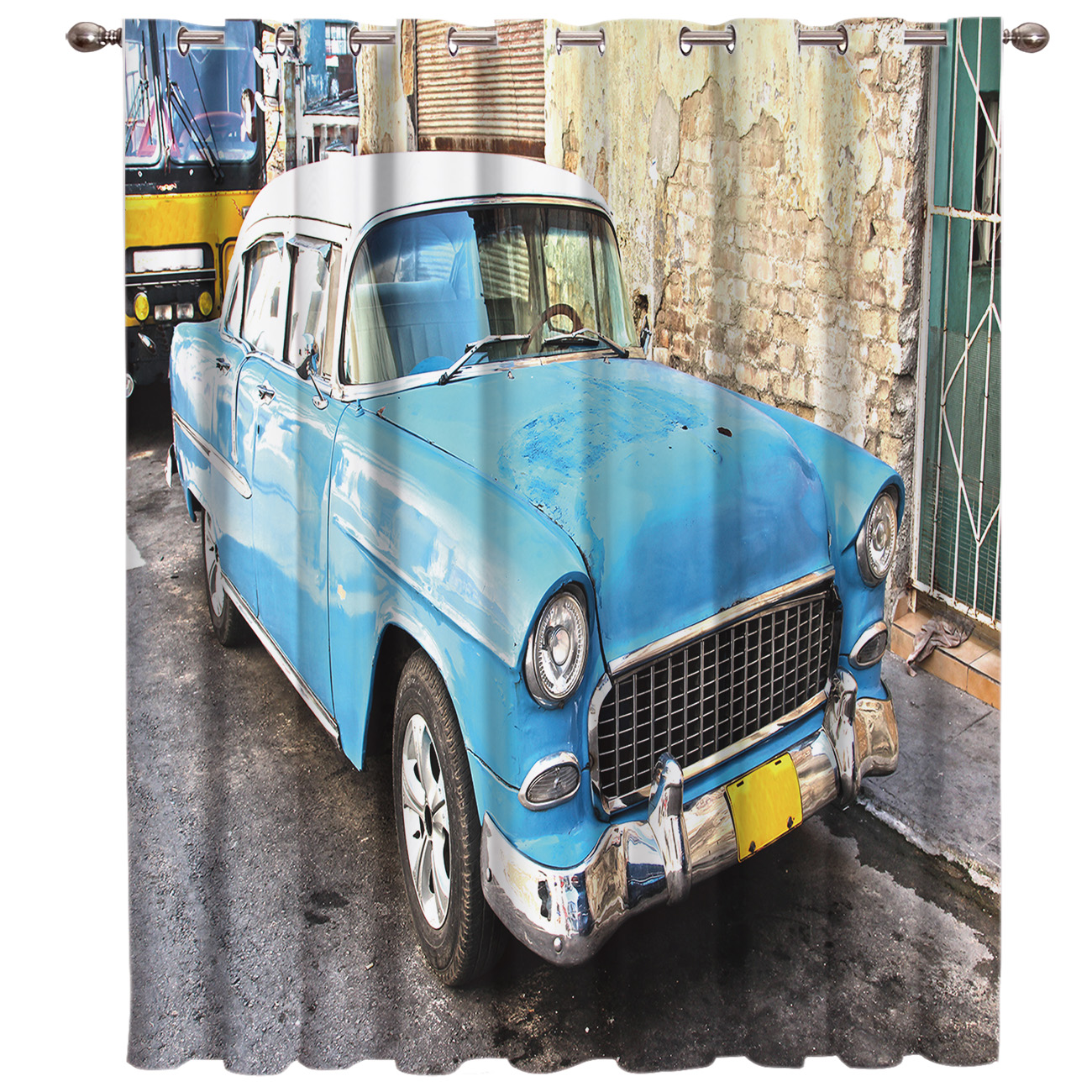 Retro Car Old Building Window Treatments Curtains Valance Room Curtains Large Window Curtain Lights Blackout Bedroom Kitchen