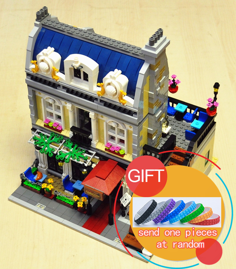 15010 2418PCS City Street Parisian Retaurant set Building Mini Kits Blocks Compatible with 10243 toy lepin a toy a dream lepin 15008 2462pcs city street creator green grocer model building kits blocks bricks compatible 10185