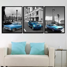 Nordic Posters Nursery HD Prints Old Blue Car For Baby Room City View Wall Art Canvas Painting Picture Kids Bedroom Decoration
