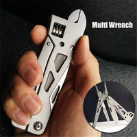 Camping Multitool Wrench Combinational Pliers Pocket EDC Survival Tool Adjustable Folding Spanner Wire Cutter For Outdoor Hiking