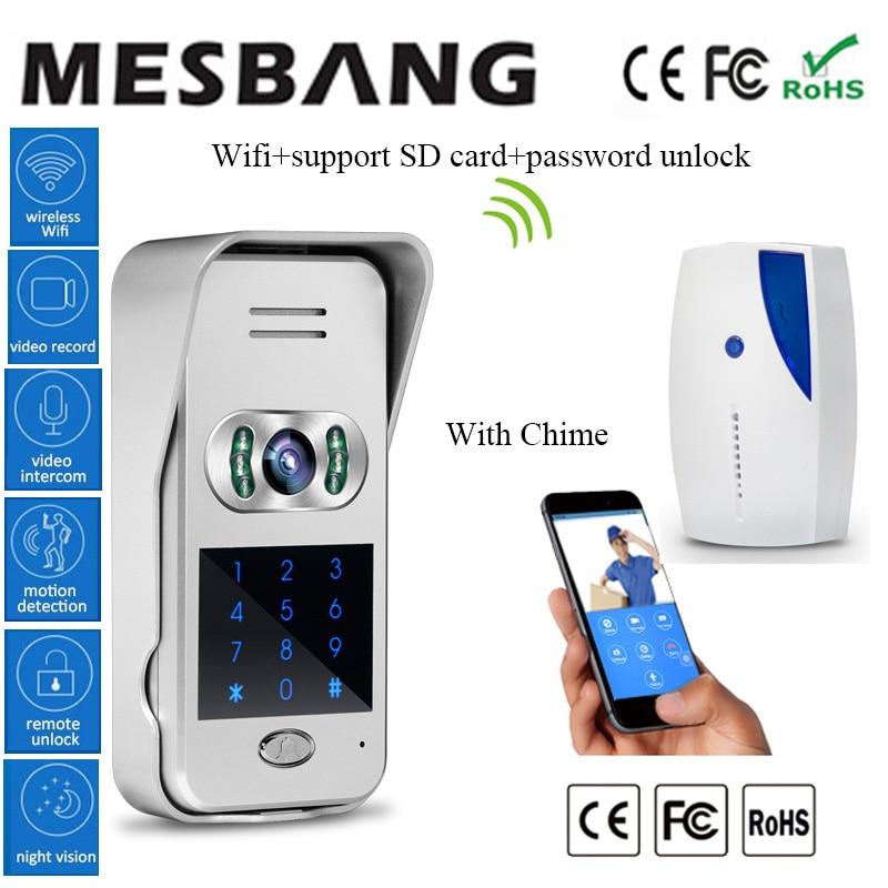 Chaude Nouveau mot de passe déverrouiller la porte interphone sonnette vidéo wifi sans fil vidéo porte interphone 120 degré de soutien 32g TF carte enregistrement