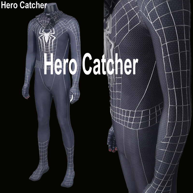 Hero Catcher High Quality 3D Webs Amazing Spiderman Costume Black Spiderman Suit With Relief Cobwebs Black Spiderman Costume