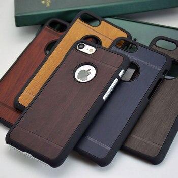 Classique bois Vintage Rétro Style PU en cuir autocollant avec hard case pour iphone 7 6 5 5S 4 4S SE 6 S téléphone cas couverture funda capa