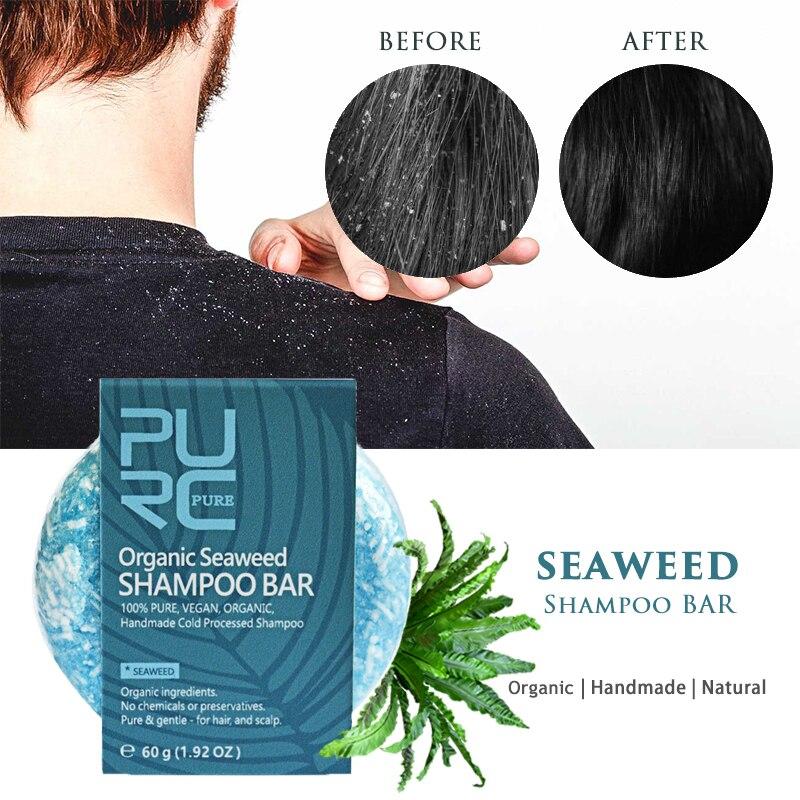 100% Pure Seaweed Shampoo Bar Gentle For Nourishing Hair Anti Dandruff & Itchy Scalp Hamdmade Soap Wash Hair Care
