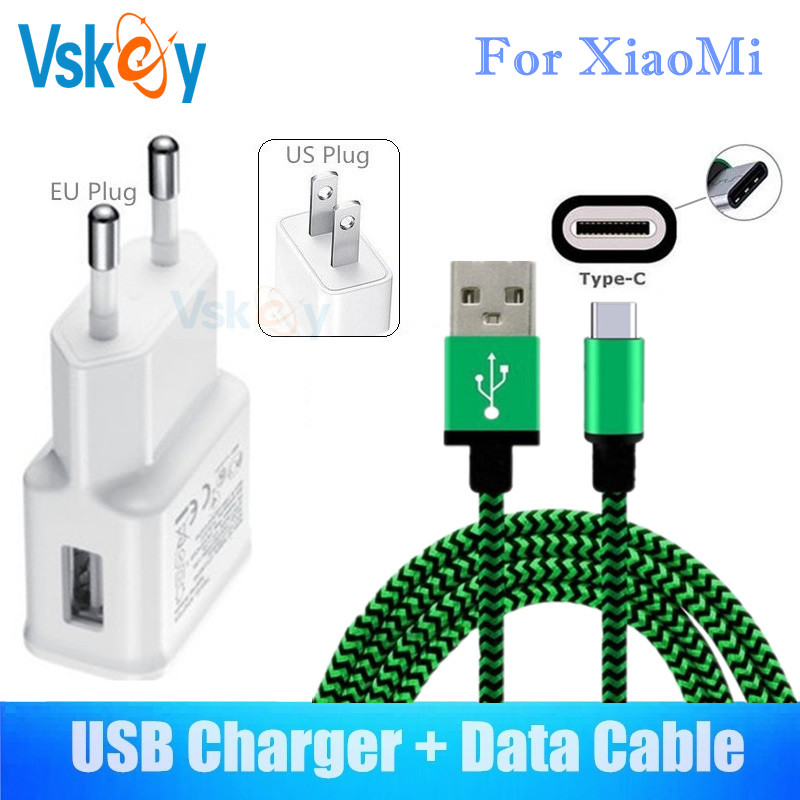 VSKEY 2A USB Wall Charger For Xiaomi Note 3 Mi 6 5s Plus 5X A1 5C Max2 Mix2 Type C Cable Travel Adapter