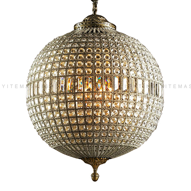 Globe luxury crystal chandelier vintage round french hanging light antique brass suspension light for living room kitchen lobby
