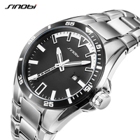 SINOBI Мужские кварцевые часы полностью стальные Мужские Модные Военные мужские наручные часы мужские светящиеся руки Relogio Masculino saat 2019