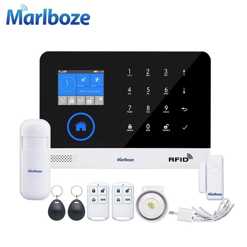 Marlboze EN RU ES PL DE Switchable Wireless Home Security WIFI GSM GPRS sistema DE alarma APP Control remoto RFID tarjeta brazo desactivado