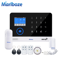 Marlboze EN RU ES PL DE Switchable Wireless Home Security WIFI GSM GPRS Alarm system APP Remote Control RFID card Arm Disarm