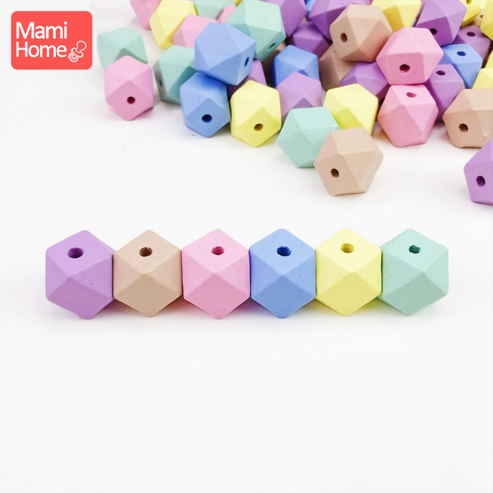 Mamihome 100Pcs 20mm 16mm Wood Hexagon Beads Candy Colorful Geometric Balls Wooden Teething Toys BPA Free DIY Baby Teether