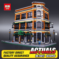 2016 New LEPIN 15017 4616Pcs Creator Starbucks Bookstore Cafe Model Building Kits Blocks Bricks Compatible Toys