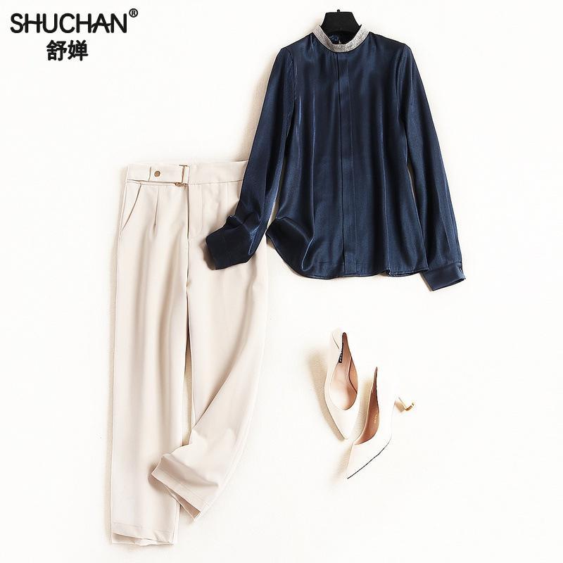 50126 Shuchan 2 Bleu Pantalon Costume Multi Coréenne Marine Nouveau Femmes Conjunto Crayon Pièces longueur 2019 Cheville Chemises Ensemble Feminino rqUyrYEwT