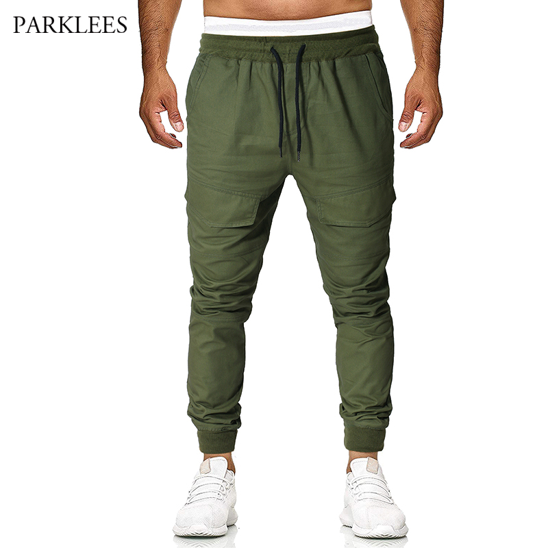 Army Green Big Pocket Casual Cargo Pants 2019 Men's Fashion Simple Street Wear Beam Feet Loose Sports Mens Casual Trousers Homme