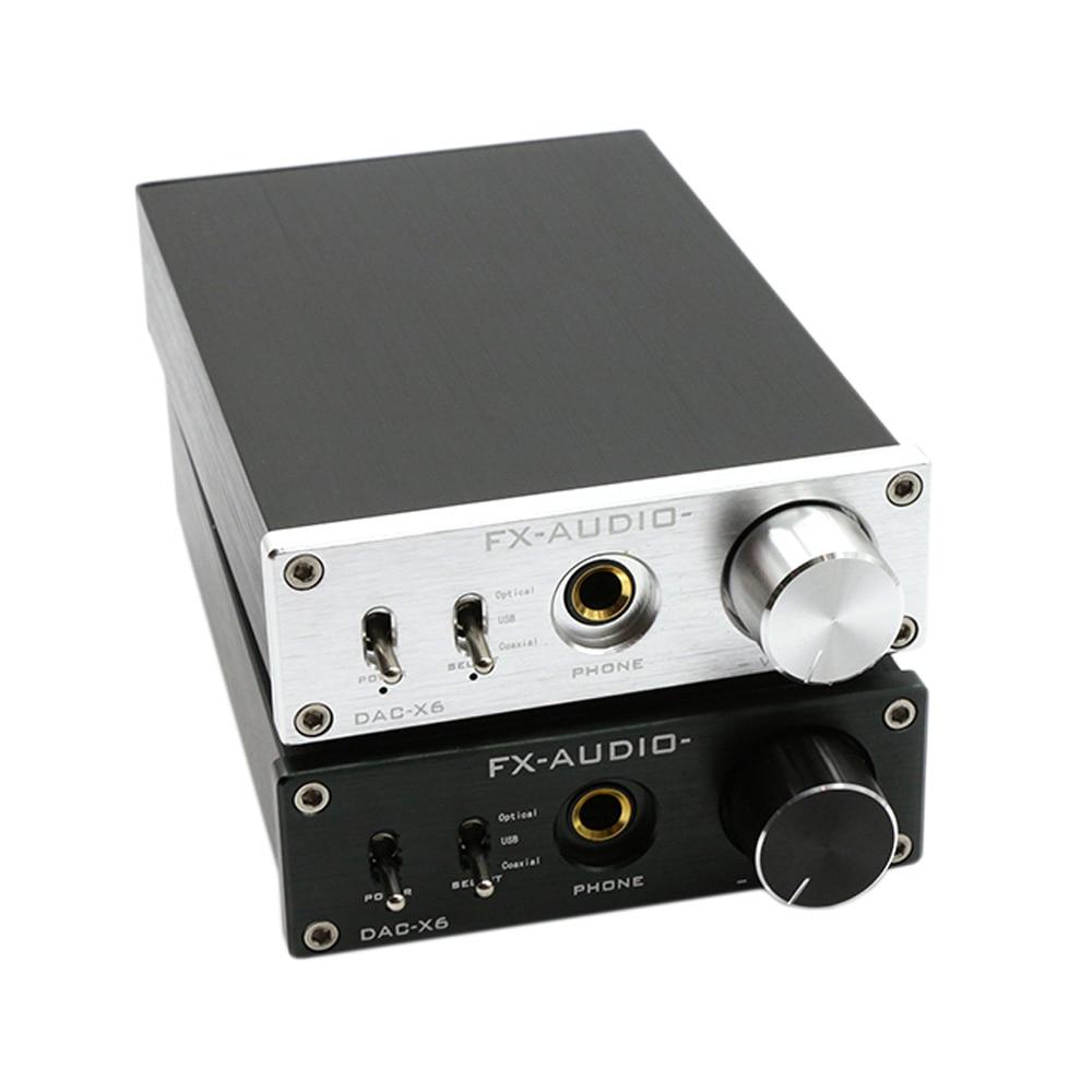 FX-Audio DAC-X6 High Power Amplifier Mini HiFi 2.0 Pure Digital Audio Decoder DAC Input USB/Coaxial/Optical Output RCA Amplifier 2017 new i am d dav130bt high power 100w 2 digital audio bluetooth amplifier input usb coaxial optical aux dc24v 5a power supply