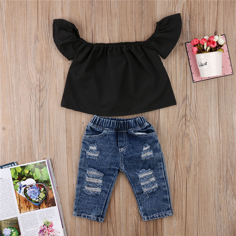e900f10d24e1 Toddler Kids Baby Girls Clothes Set Summer Black Off Shoulder Blouse Tops  Denim Jeans Pants Girl Clothing Outfits 2PCs-in Clothing Sets from Mother &  Kids ...