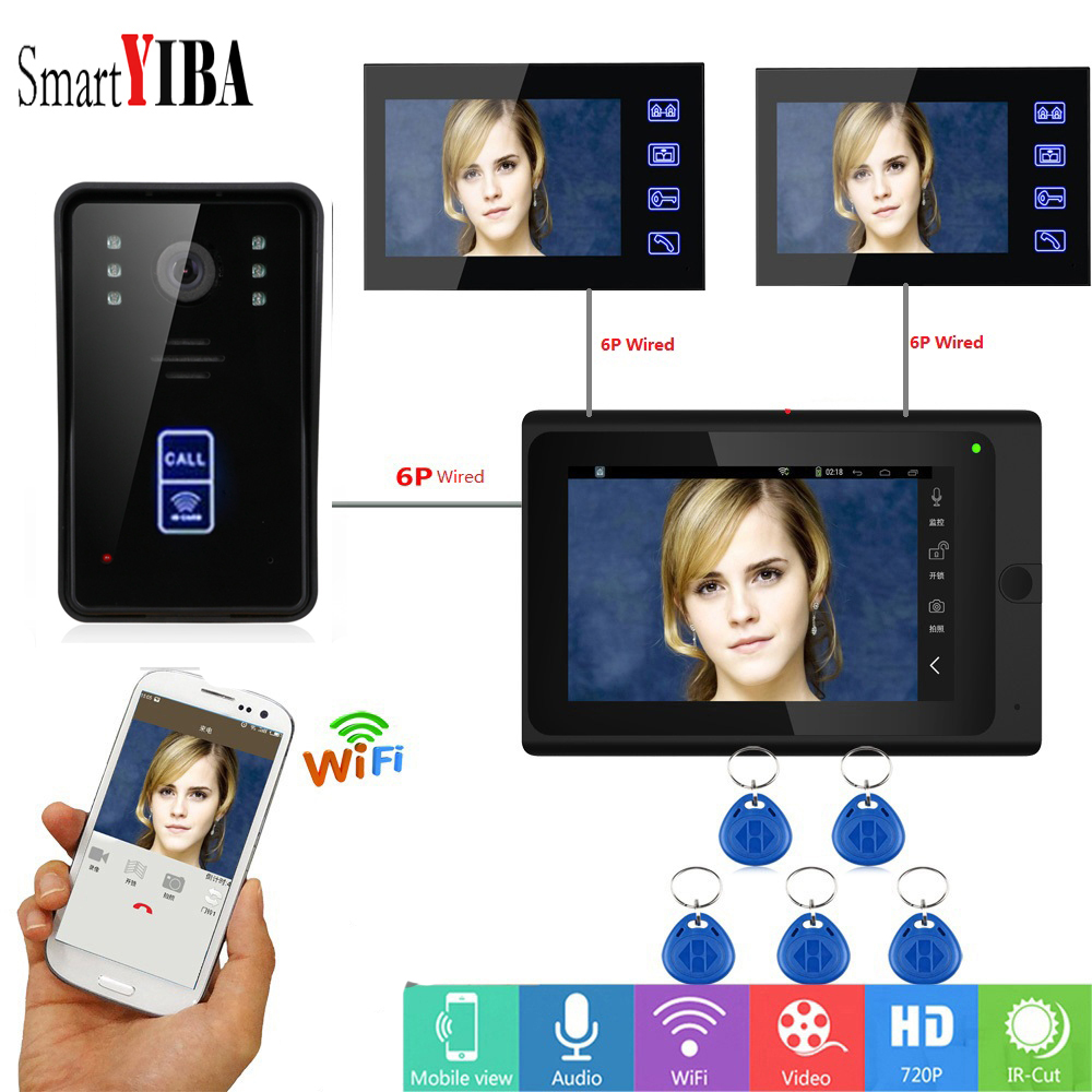SmartYIBA Apartment Intercom 7 Inch LCD Monitor Wired WiFi Visual Video Doorbell Intercom IOS Android RFID