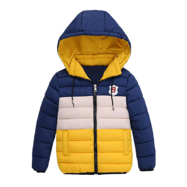 Warm Hooded Winter Jackets for Boys with Zipper Closure