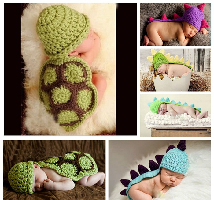 Cute Dinosaur Turtle Handmade Crochet Baby Boy Hat Photo Props Bone Disfraces Bebe Animales Fotografia Newborn Photography Props