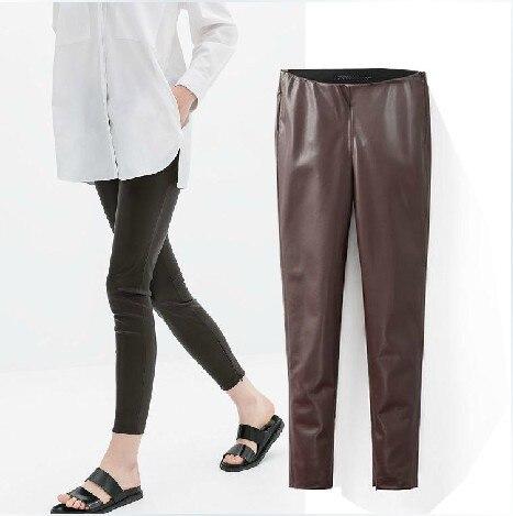 4df3679aa65d9b 2014 winter new European style ZARA ladies leather leggings leggings Slim  female leather pants