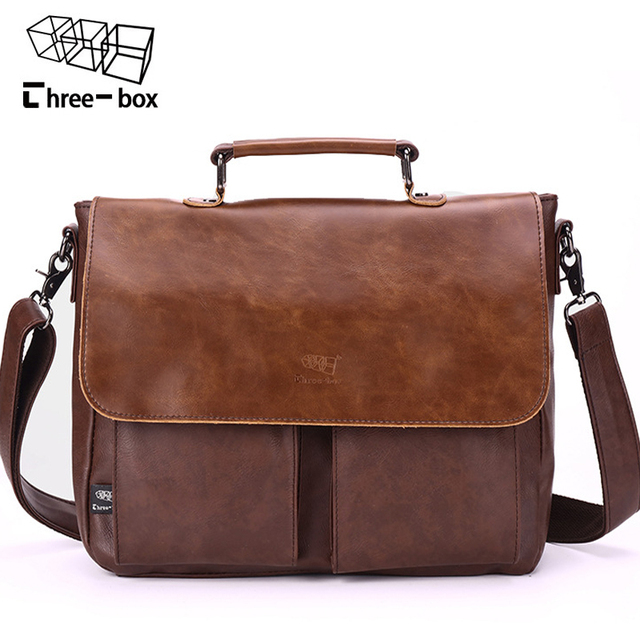 Three Box Brand Fashion Retro Man Bag Business Leather Male Shoulder Bags  High-quality Cover Work Large Men s Handbag Crossbody 45cf66a5e5