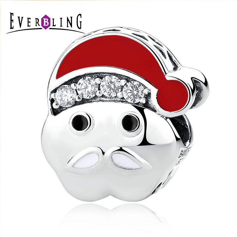 Everbling Jewelry Christmas Santa Claus Red Enamel 100 925 Sterling Silver Charm Beads Fit European Charms
