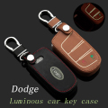 Genuine Leather Car Keychain Key Fob Case Cover for Dodg e Journey 2 Buttons Smart Remote Car Key Holder wallet Auto Accessories