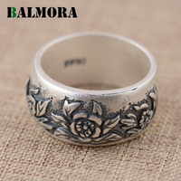 BALMORA 990 Pure Silver Vintage Flower Rings For Women Lover Gift Thai Silver Flower Ring Jewelry