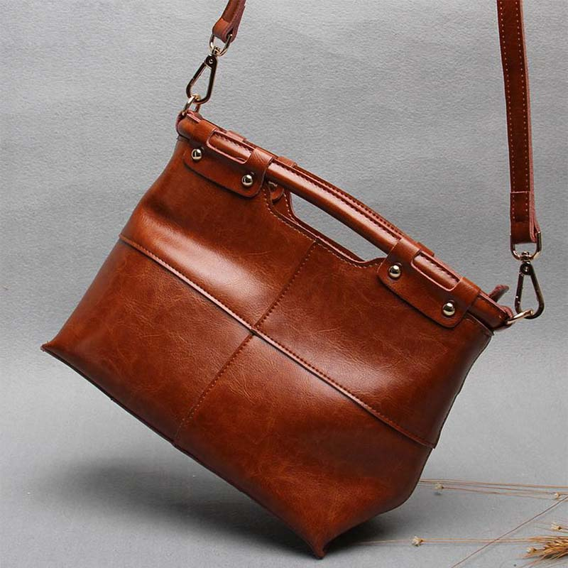 Vintage split leather bag fashion handbag womens tote clutch bags female crossbody bags for women messenger handbag sac a main vintage handbags clutch retro women messenger bags panelled box bag rivet crossbody shoulder bags small handbag purse sac a main