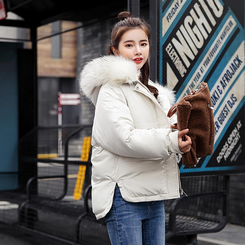 Winter jacket women 2018 fashion warm women   down     coat   female fur collar hooded zipper outwear short winter women   down   jacket