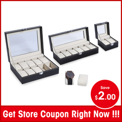 2 6 10 Grids PU Leather Watch Box Case Professional Holder Organizer for Clock Watches Jewelry Boxes Case Display best gift