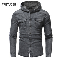 Fashion Hooded Men's Denim Shirt Long Sleeve Casual Cotton Slim Fit Male Jeans Shirt washed gray blue High Quality Chemise Homme