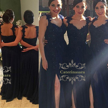 A-Line Spaghetti Strap Floor Length Chiffon V Neckline Bridesmaid Dress with Lace Appliques Front Split Sexy Backless