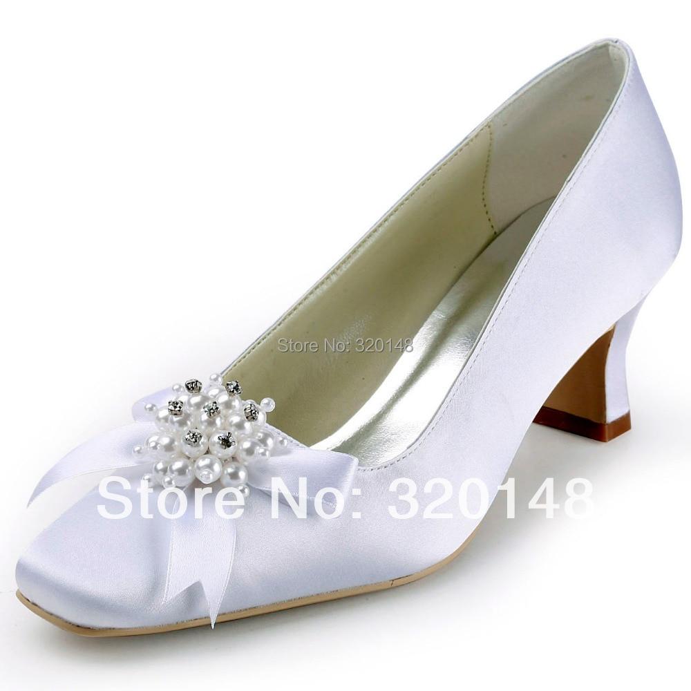 White Satin Bow Shoes