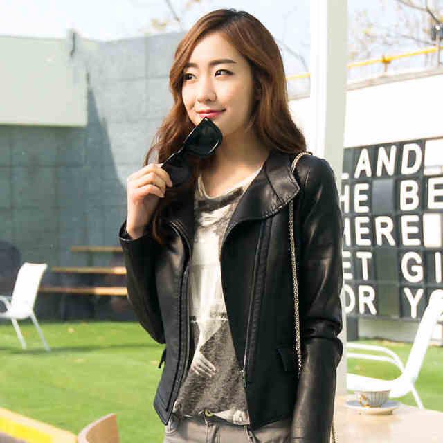 Осень новый кожаный пиджак женский Корейский короткий параграф Тонкий pu кожаная куртка женская YF48