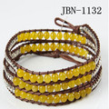 new three laps fashion  leather bracelet  4mm  yellow stone  weaving charm bracelets wrap bangles for women jewelry JBN-1132