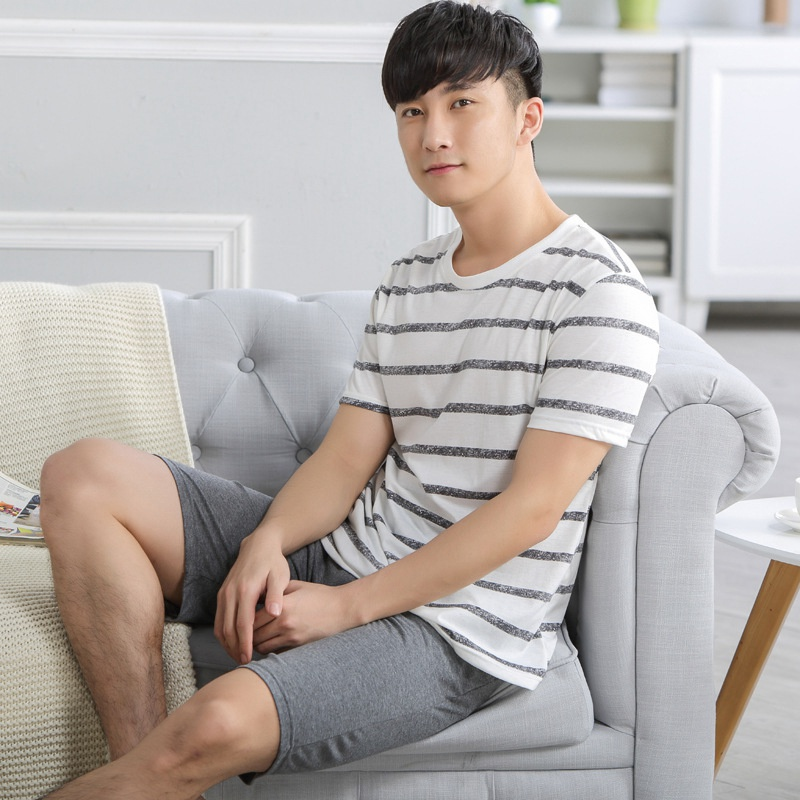 Cotton Casual Pajama Sets for Male Summer Men Pajama Set Striped Round Neck Short Sleeves for Boys Men Home Clothes Men Clothing