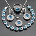 Round Light Blue White CZ Silver Color Jewelry Sets For Women  Bracelet Earrings Necklace Pendant Rings Free Gift Box