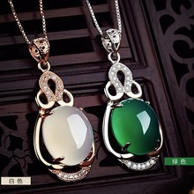 New S925 silver Green Jasper Jade Pendants For Women Chalcedony Temperament female pendant jade