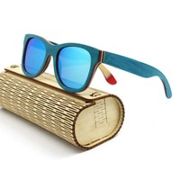 Polarized Wooden Sunglasses Men Bamboo Sun Glass Brand Designer Gold Mirror Original Wood Sun Glasses Shades