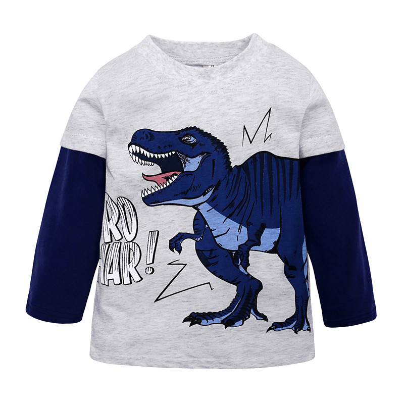 kids boys t shirt Cartoon dinosaur animal print Children Long sleeve tshirt Tees 2019 summer clothes white tops Tees t-shirt