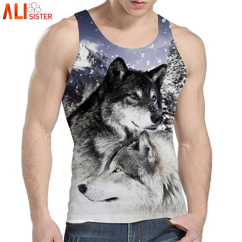 12be9f985dd Alisister Wolf Eagle Tank Top Men s Bodybuilding 3d Animal Print Vest  Undershirt Fitness Sleeveless Singlets Gasp