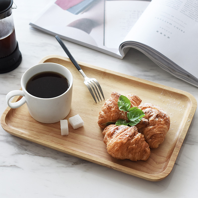 Wooden Serving Tray Solid Wood Plate Tea Tray Cake Dishes Rectangular Large Coffee Bread Fruit Food Serving Tray Party Tableware (1)