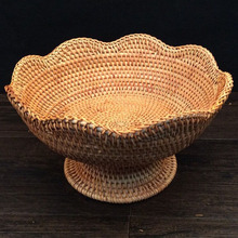 Round Rattan Weaving Storage Fruit Basket For food snacks candy dried fruits tray stand display decoration dry fruit trays bowls