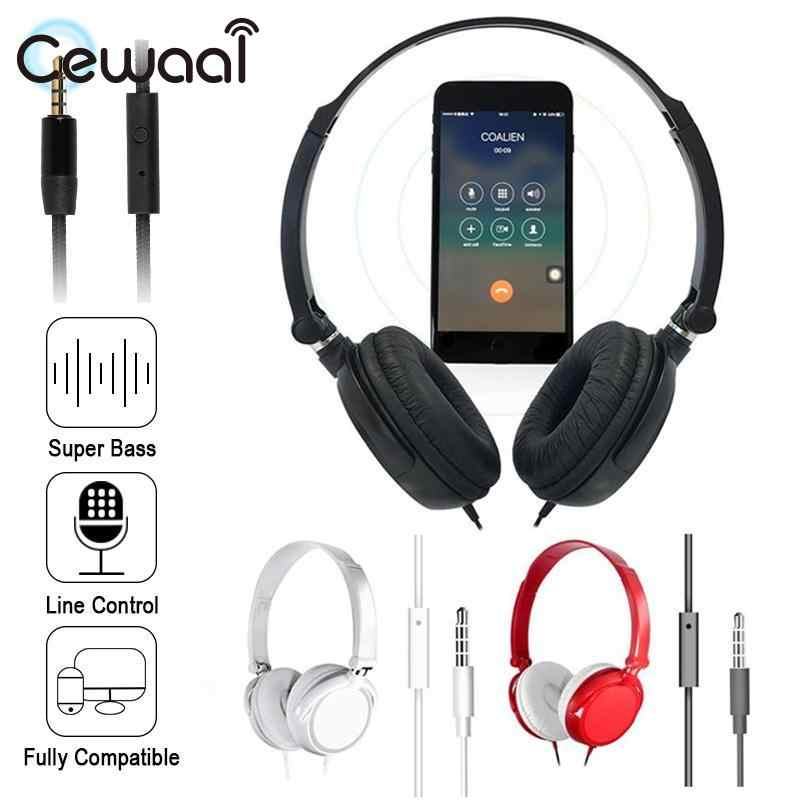 Cewaal Pieghevole e di Alta Suono Wired Testa Usura Bass Cuffie di Riduzione Del Rumore Surround Sound Per MP3 PC Del Computer Portatile Smart Phone Bass