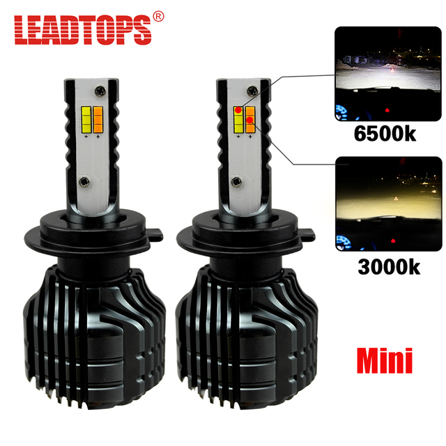 LEADTOPS Car LED Headlight Bulbs H7 H4 LED H8 H11 Auto Kit Dual Color Light Bulb Headlamp 3000K 6500K Yellow White cj