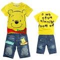 Moda dos desenhos animados Winnie Roupas de Manga Curta T-shirt + Roupa Calças Criança Meninos Roupas Crianças Ternos Do Esporte de Verão Crianças roupas