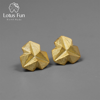 Lotus Fun Real 925 Sterling Silver Handmade Fine Jewelry Minimalism Style Stereoscopic Triangle Stud Earrings for Women Brincos